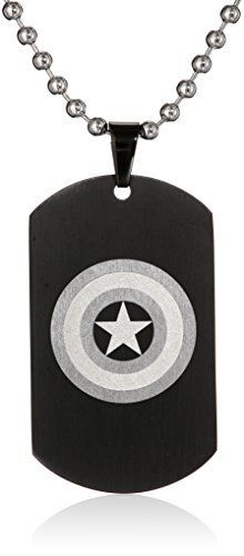 """Marvel Comics Unisex Captain America Stainless Steel Chain Dog Tag Pendant Necklace, 24"""" Made in ChinaMade in China  bracelets, Earrings, Jewelry, necklaces, pendants, Rings"""