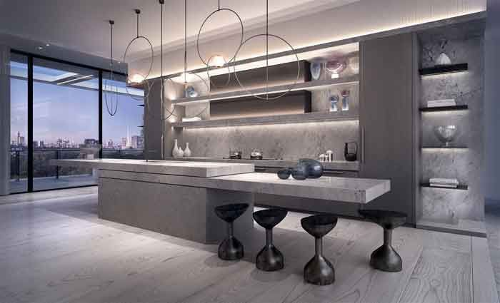 The kitchen has been designed as a work of art. While it boasts the latest in kitchen appliances and features, the utilitarian aspects of the chef-ready kitchen are cleverly disguised.