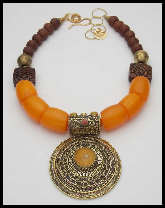 HIMALAYA - Handmade Tibetan Pendant Inlaid with Gems - Amber Resin - African Beads Necklace
