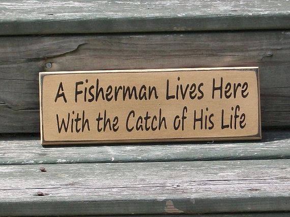 A Fisherman Lives Here with the Catch of His by thecountrysignshop, $9.00