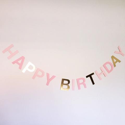Happy Birthday Banner - Pink & Gold