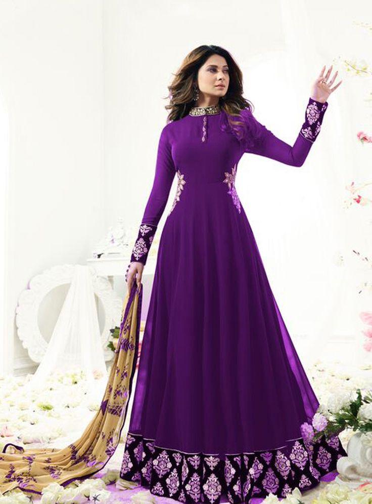 Jennifer Winget Purple Georgette Floor Length Anarkali Suit 104241