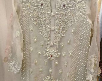 Pakistani Clothes, Women's White Organza Tunic, Beaded, 4-Pc, Pakistani Party Wear Shalwar Kameez