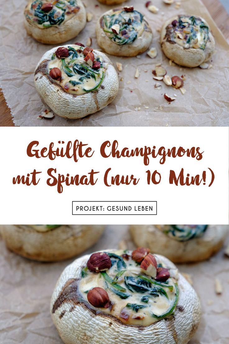 Gefüllte Champignons mit Spinat (nur 10 Min.!)