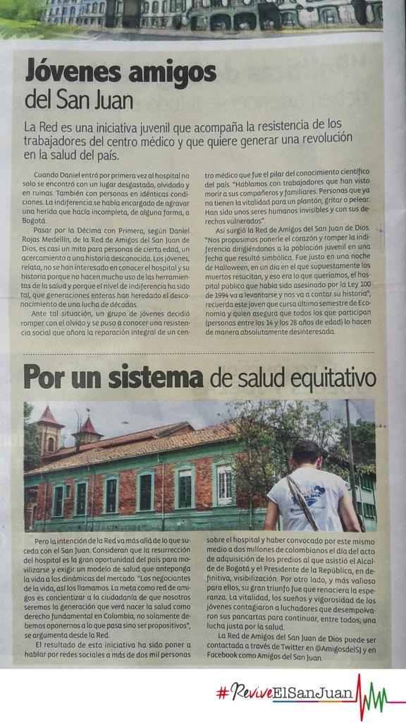 Nota en el periódico Humanidad sobre los Amigos del San Juan. #ReviveElSanJuan