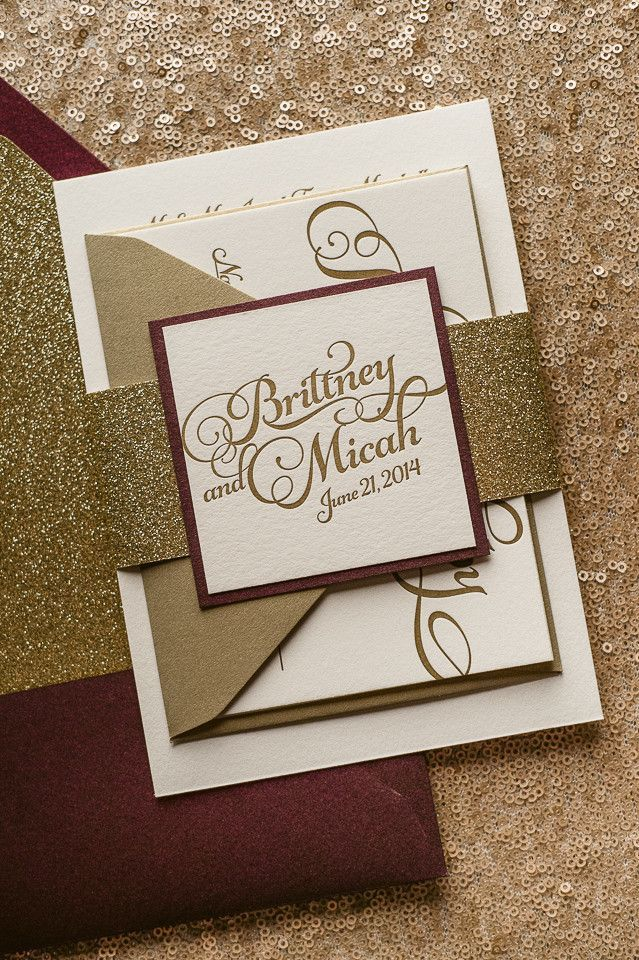 KATHRYN Suite Glitter Package, sparkling fall wedding invitations, wine, coral, blush, gold, 2014 fall wedding trends, letterpress wedding invitations, glitter wedding invitations