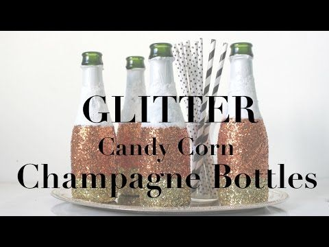diy candy corn inspired glitter champagne bottles just in time for - Youtube Halloween Crafts