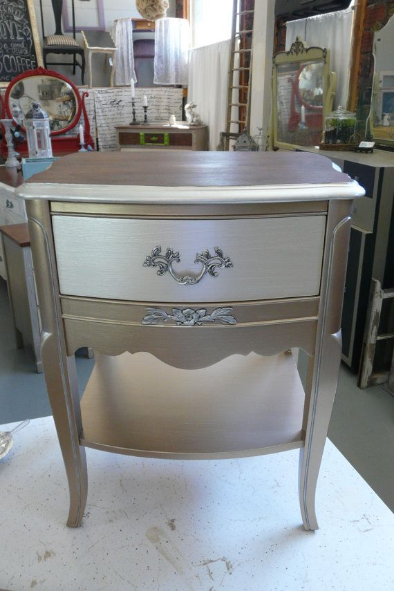 French Country Nightstand by HueNew on Etsy, $175.00 Warm Silver + Oyster + Silver Gilding Wax on hardware
