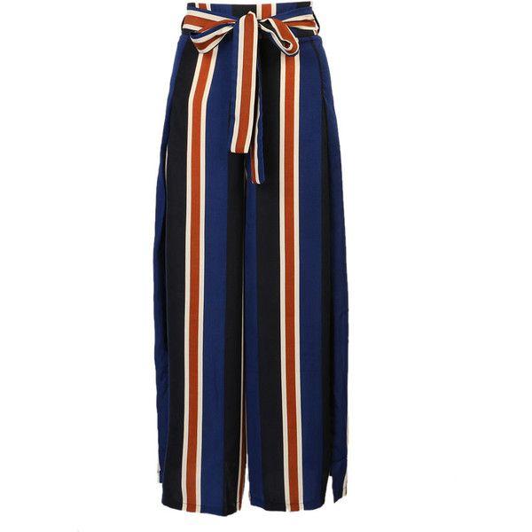 Blue Stripe Tie Waist Side Split Wide Leg Palazzo Pants ($24) ❤ liked on Polyvore featuring pants, print palazzo pants, blue pants, stripe pants, patterned pants and zipper pants
