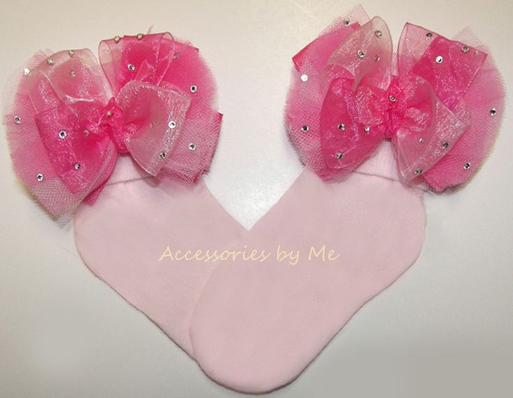 Glitzy Pink Organza Tutu Bow Socks