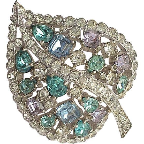 Jomaz Alexandrite Light Sapphire and Aqua Teardrop Princess Cut and Pave Rhinestone Figural Leaf Brooch