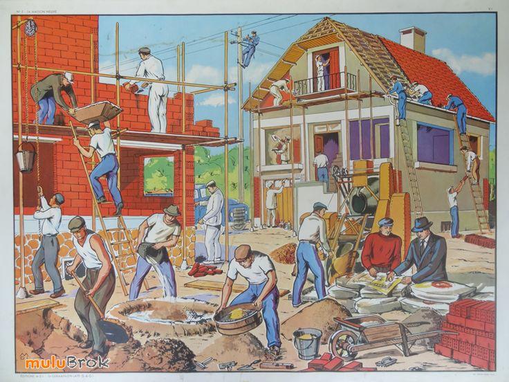 Ancienne affiche scolaire. Editions MDI. Recto n°5 La maison neuve ... www.muluBrok.fr ...