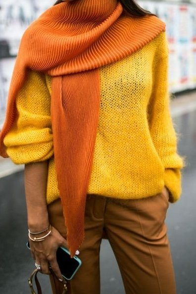Loving this bright hue outfit! A bright yellow textured scarf against a yellow sweater and mustard yellow pants.. Shop our edit, starting at just $13.