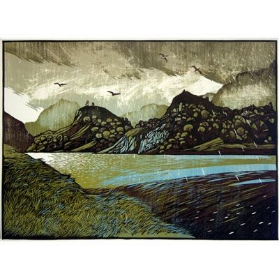 """A soft day on Llyn Gwynant"" linocut by Ian Phillips. http://www.reliefprint.co.uk/ Tags: Linocut, Cut, Print, Linoleum, Lino, Carving, Block, Woodcut, Helen Elstone, Wales, Welsh, Cymru, Landscape, Water, rain, Clouds, Hills."