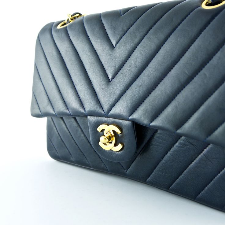 Chanel Blue Lambskin Chevron Medium Double Flap Bag