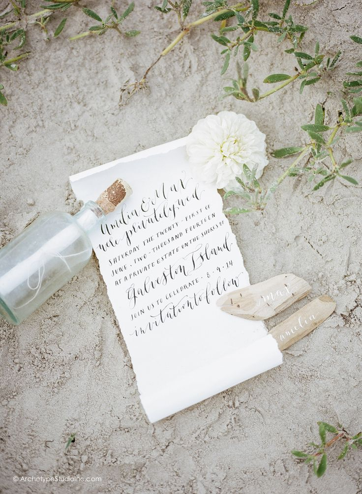 how to make film canister wedding invitations%0A message in a bottle calligraphy beach wedding invitation