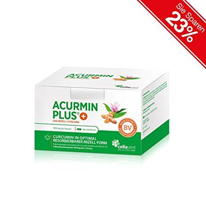 Cellavent Healthcare Acurmin PLUS® - The Micellar Turmeric: Highly Dosed Curcuma Extract Capsules with Vitamin D3, without Piperine and Bioperine / 180 Capsules. Herbal antibiotics. It's an Amazon affiliate link.