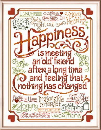Lets Be Old Friends - cross stitch pattern designed by Ursula Michael. Category: Words.