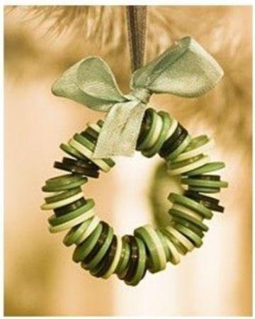 2. ötlet gombból készített karácsonyfadíszre<br />Vékony drótra felfűzve és szalaggal átkötve ilyen szép karácsonyfadíszed lehet