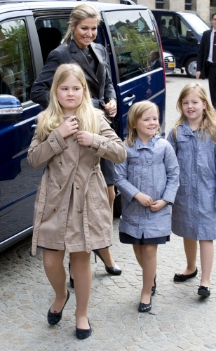 Crown Princess Maxima and daughters Princess Amalia, Princess Alexia arrive at Dam Palace for rehearsals for the upcoming abdication and investiture