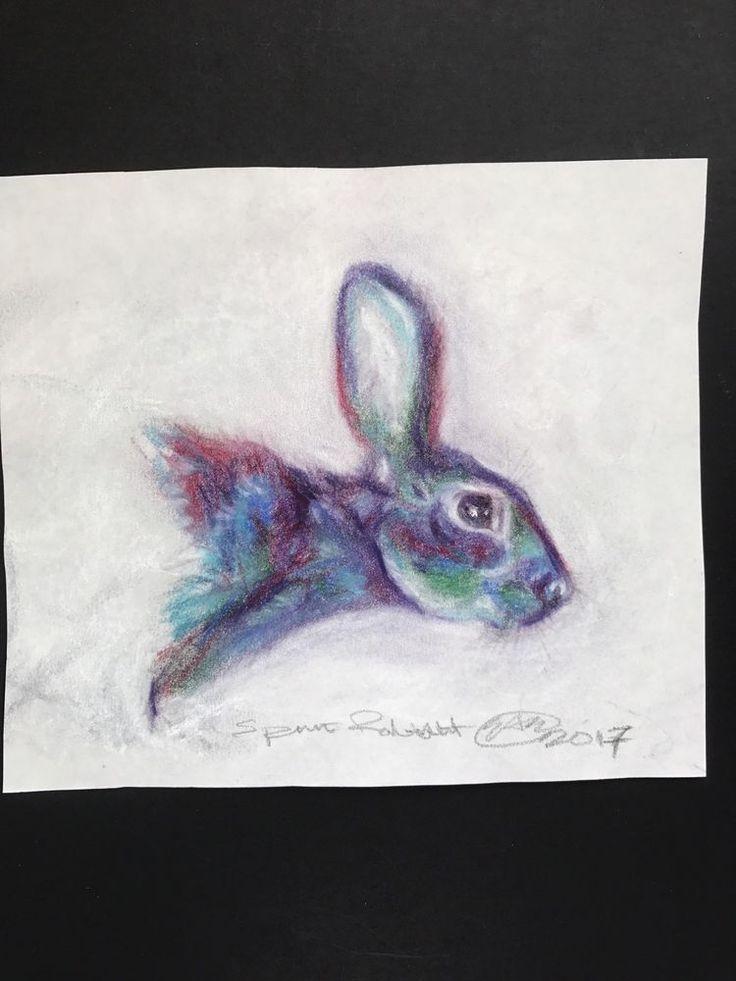 Original Charcoal Bunny Pastel American Art By Artist Artettina Rabbit Portrait #ContemporaryArt