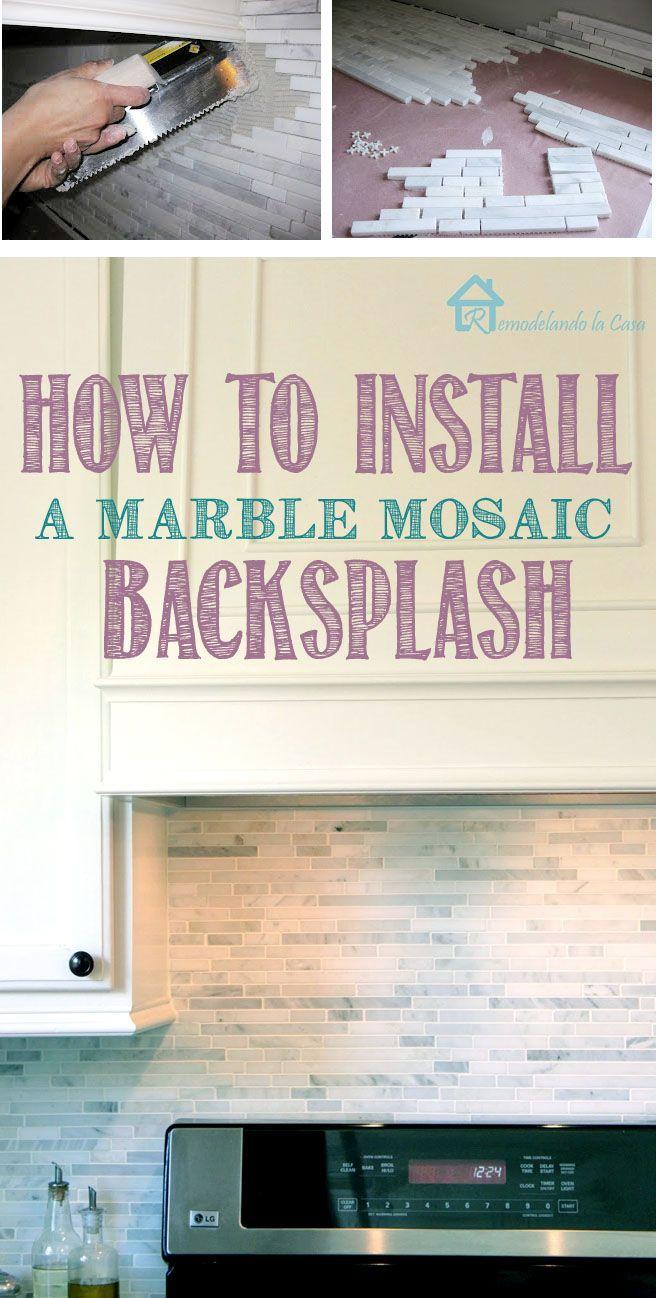 116 best tile ideas images on pinterest backsplash ideas tile how to install a marble mosaic backsplash kitchen makeover