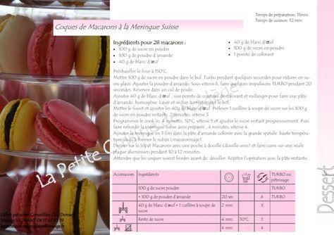 Coques de Macarons à la meringue suisse sans sucre glace au Cook'in (robot de Guy Demarle)