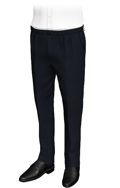 Fundamental Blue - Plain blue slim fit pants made from wool and polyester...  These blue custom pants with displaced fastening and double pleats have rounded side pockets and patched back pockets.The have a sporty style and combine well with a white shirt or polo.  http://www.tailor4less.com/en/collections/custom-pants/basics-collection-pants/fundamental-blue