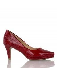 Racy - Women's gloss red crocodile mid heels  $99.00  #shoeenvy #shoes #fashion #instalove #pretty #ethical #glamorous