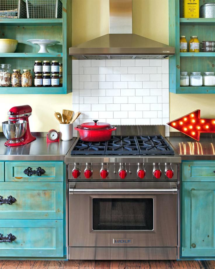 Red And Blue Kitchen Retro Vintage Red And Turquoise Kitchen Decor
