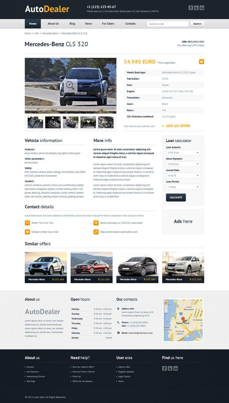 Auto dealer car dealer psd template wordpress theme website template