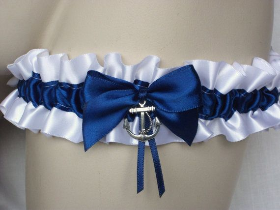 White Navy Blue Satin Garter With Anchor / Seahorse Charm -  Nautical Sailor Beach Yacht Seaside Wedding Bride Bridal Hen Party Bachelorette on Etsy, £4.50