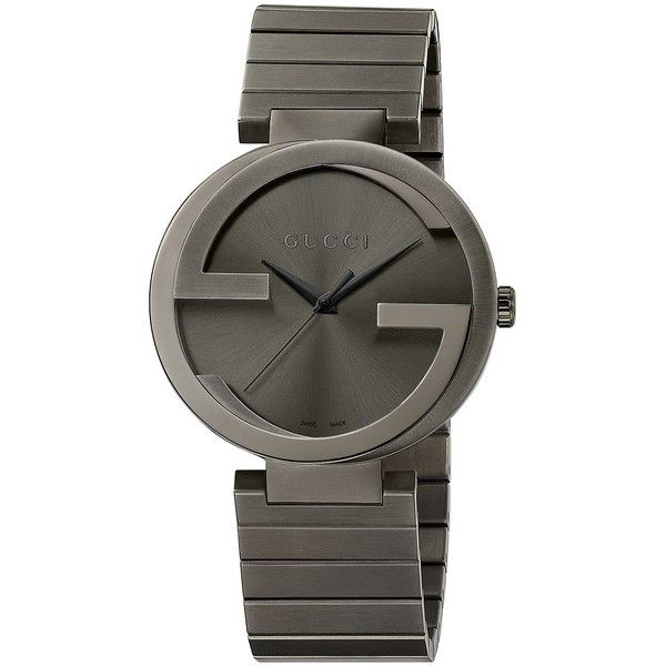 Gucci Mens Interlocking Gs PVD Watch ($1,250) ❤ liked on Polyvore featuring jewelry, watches, gunmetal, gucci, gucci watches, bracelet watches, gucci bracelet and bezel bracelet