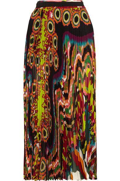 Roberto Cavalli - Pleated Printed Silk-georgette Midi Skirt - Orange - IT