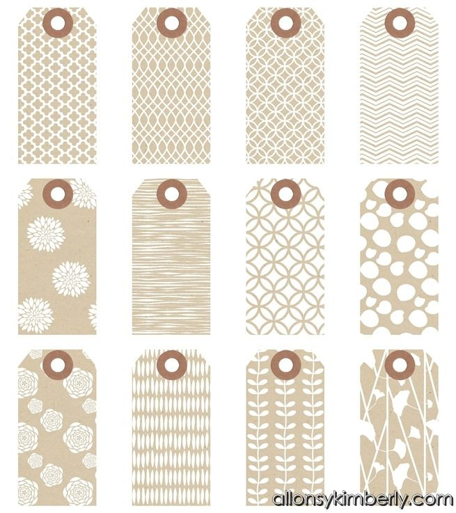 Free printable gift tags - many different styles - I love these patterned kraft tags