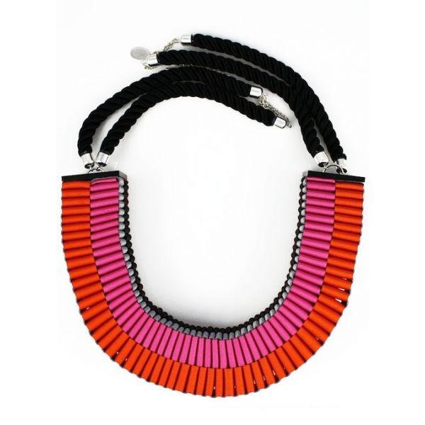 The Clemence woven necklace in pink/orange | Jennifer Loiselle