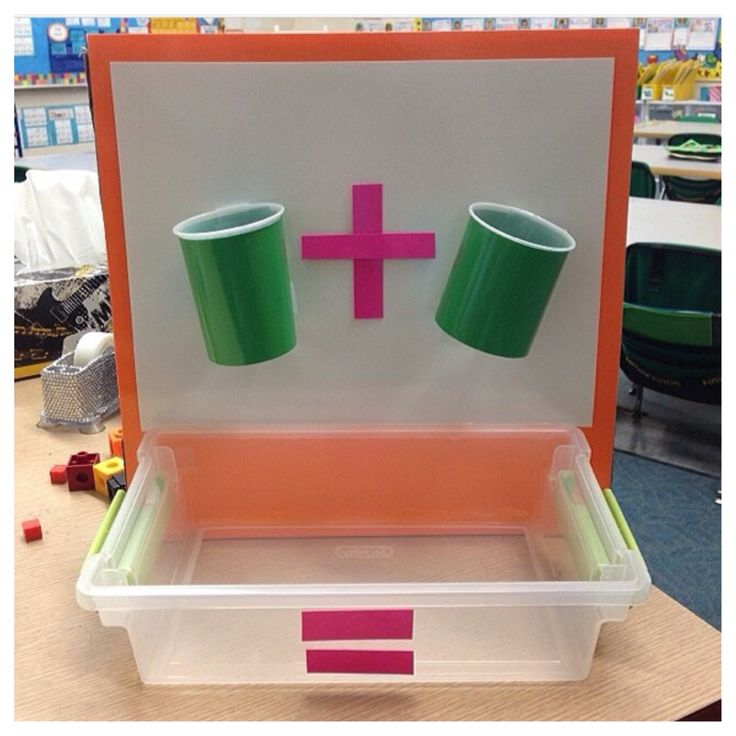 Math Visual Aide. Bottomless cups - students drop manipulatives through!