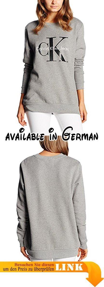 Calvin Klein Jeans Damen Sweatshirt Crew Neck Hwk True Icon Grau (Light Grey Heather 038), X-Small. Schöner Pullover von Calvin Klein mit dem bekannten Re-Issue Logo. #Apparel #SWEATER