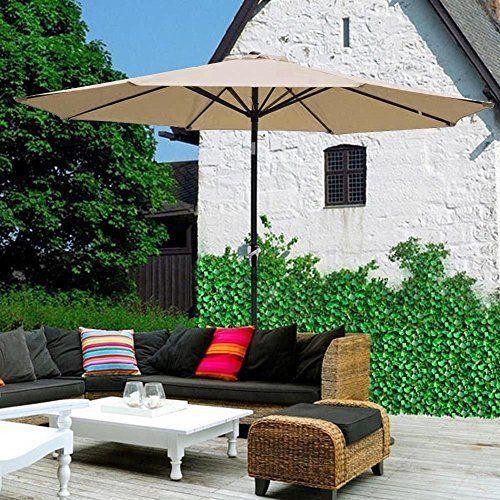 Outdoor 9' Patio Umbrella Aluminum Table with Push Button Tilt and Crank NEW #OutdoorPatioUmbrella