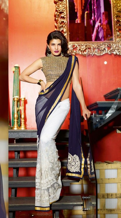 white and blue saree, love the blouse + earrings