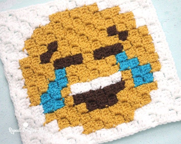 Tears of Joy Emoji C2C Crochet Square and Pixel Graph - Repeat Crafter Me