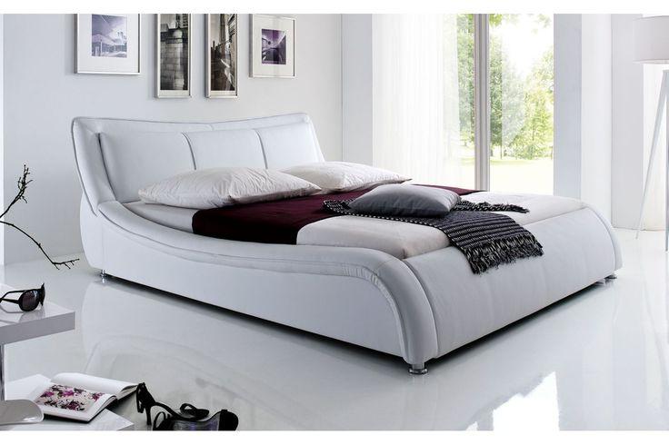 Welle ágykeret fehér textilbőr, 160x200 cm