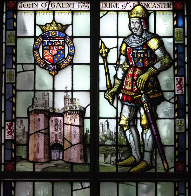 John O'Gaunt, Duke of Lancaster upper part of window in the Lancaster Museum, by Shrigley & Hunt 1950, in celebration of the firm's bicentenary. Note Lancaster Castle in the window.