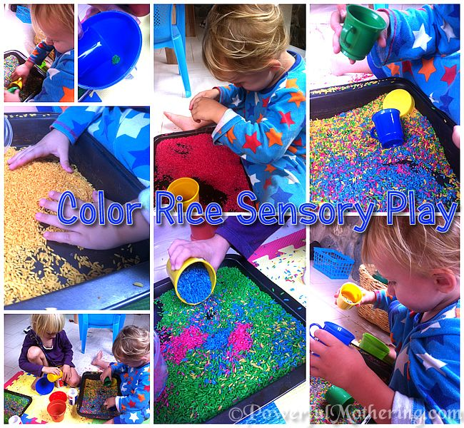 """How to Make Color Rice for Sensory Play  Create a sensory game out of it with cards of things to find in the rice? """"Can you find the..."""""""