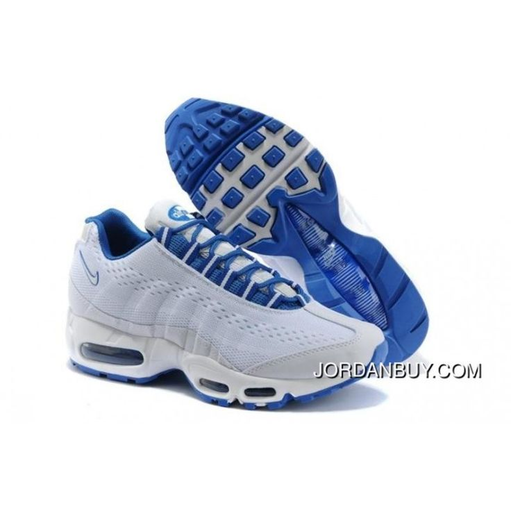 Clearance Nike Air Max 95 EM Mens Running Shoes 2014 New White Blue Online