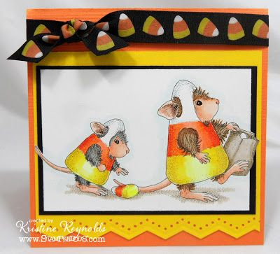 #Stampendous Stamps, #House Mouse Card  Supply List: HMR01 Candy Corn Treats by Stampendous Memento Tuxedo Black Dye ink Copic Markers Mohawk Bright White, Bazzill cardstock ribbon from Michael's martha stewart border punch Beacon Zip Dry Adhesive
