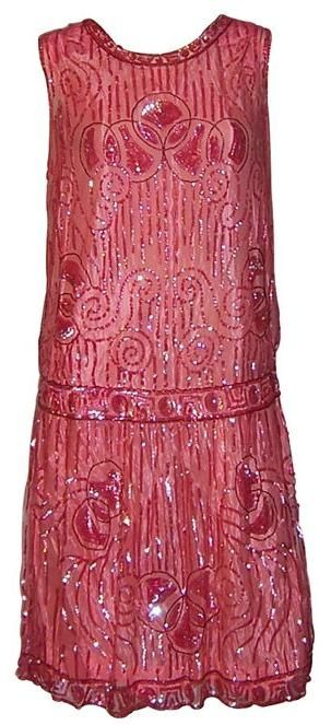 1920's vintage Art Deco Fashion - red sequined evening dress.