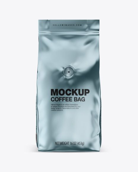 Download Glossy Metallic Coffee Bag With Valve Mockup Front View In Bag Sack Mockups On Yellow Images Object Mockups Mockup Free Psd Mockup Free Download Free Psd Mockups Templates