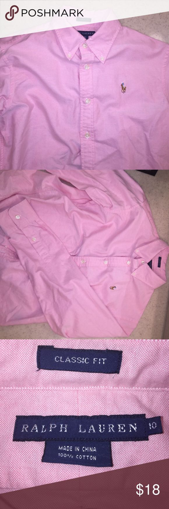 Ralph Lauren - pink -classic fit-long sleeve polo Ralph Lauren. Women's. Classic Fit. Size 10. Long sleeve polo. Great condition! Ralph Lauren Tops Button Down Shirts