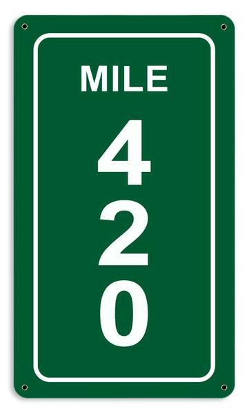 From the Altogether American licensed collection, this Mile 420 Sign measures 8 inches by 14 inches and weighs in at 1 lb(s). This custom metal shape is hand ma